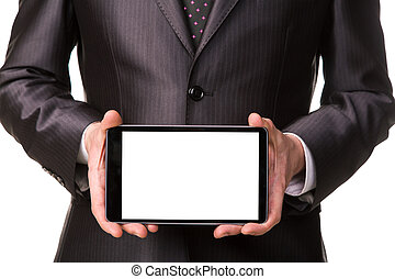 Businessman's hand showing a tablet pc comuter with blank screen for your sample text isolated on white