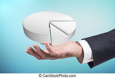 Businessman's hand showing white digital pie graph.