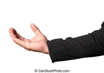 businessman's hand to showing something isolated clipping path
