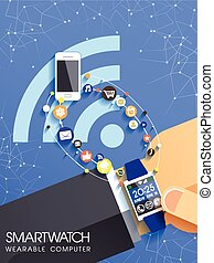 businessman's hand with smart watch and icons