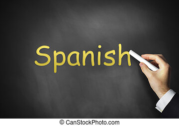 hand writing spanish on black chalkboard