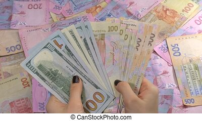 Businessman's hands counting money dollar and hryvnia....