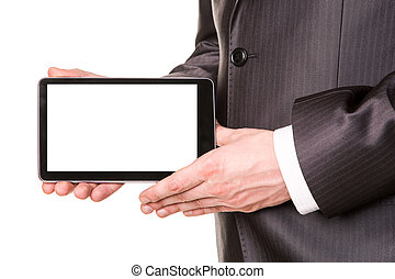 Businessman's hands showing a tablet pc comuter with blank screen for your sample text isolated on white