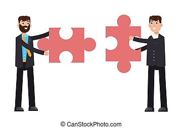 Businessmans holding puzzle. Teamwork concept. Vector illustration in flat style
