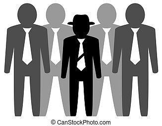 businessmans, líder, equipe
