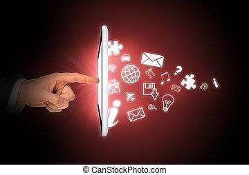 businessmans, main, tablette, icônes