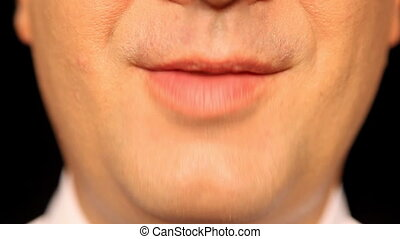 Businessmans mouth talking - Face - Lip - Extreme Close-Up -...