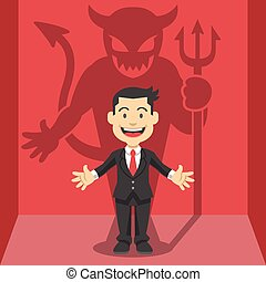 Businessman's shadow. Vector flat illustration
