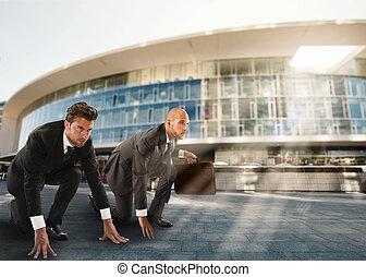 businessmen , έτοιμος , να , start., αγώνας , και , πρόκληση , μέσα , αρμοδιότητα αντίληψη