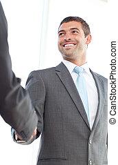 businessmen, постоянный, руки, офис, shaking, счастливый
