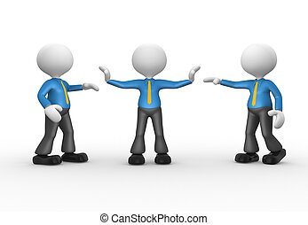 Businessmen - 3d people - man, person talking. Businessman...