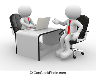 Businessmen - 3d people - men , person at a office. Business...