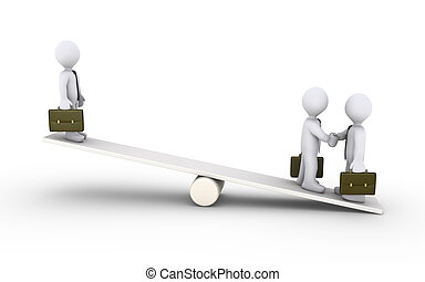 Businessmen agreement on a seesaw - Two 3d businessmen agree...