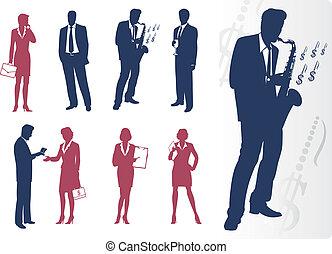 Businessmen and businesswomen silhouettes