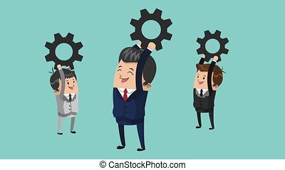businessmen and gears team work icons businessman icons...