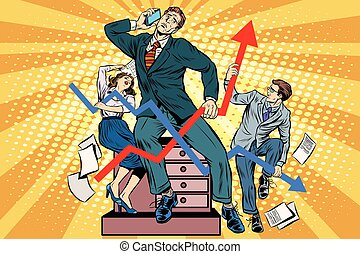 Businessmen and sales schedules pop art retro style. The ...