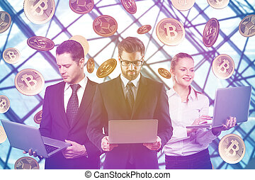 Teamwork and cryptocurrency concept - Businessmen and woman...