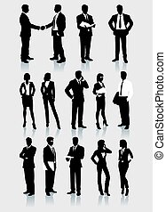 Businessmen and women Vector silhouettes set