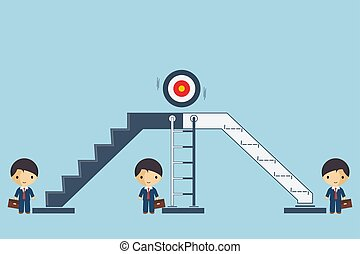 Businessmen are choose stepping up the ladder to success, business concept the way to victory, vector illustration