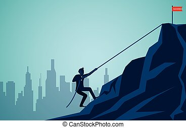 Businessmen are climbing up a mountain with a rope. To the red flag target on the cliff. Business finance success. Overcome obstacles. leadership. illustration cartoon vector