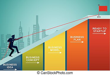 Businessmen are climbing up a up the slope on bar graph with a rope. to the red flag target. Business finance success. Overcome obstacles. leadership. illustration cartoon vector