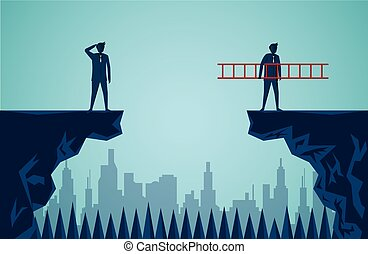 Businessmen are competing across the cliff to the goal opposite the stair red go to success goal. to overcome obstacle for the ultimate target. business finance. advantage. victory. cartoon vector