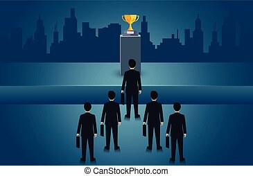 Businessmen are competing for the right path to success. But there are obstacles blocking the path. Business concept of challenge problem solving. leadership. creative idea. vector illustration