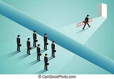 Businessmen are competing go to the door with obstacle, cliffs blocking the path. go to the door destination for success. Business concept of challenge problem solving. leadership. vector illustration