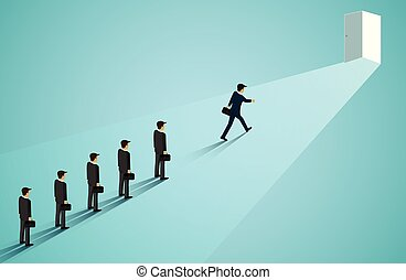 Businessmen are competing walk to reach the door of business success. career advancement. creative idea. leadership. startup. illustration cartoon vector