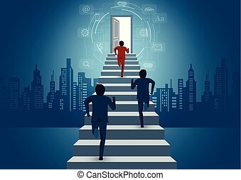Businessmen are competition running up the stair to the door. business finance success concept. creative idea. leadership concept. icon. startup. illustration cartoon vector