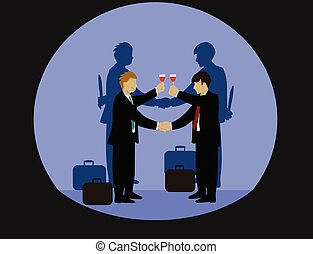 Businessmen are holding hands and drinking wine. But the shadow on both sides of his hand holds a knife, black background