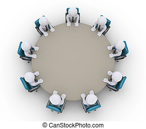 Businessmen are in a meeting around a table