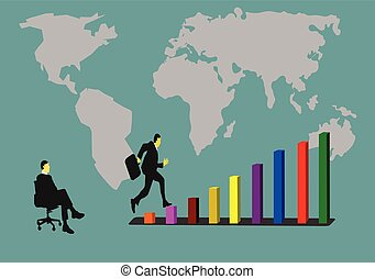 Businessmen are jumping on the graph of success. Have a friend sit watching. Have a background as a world map.