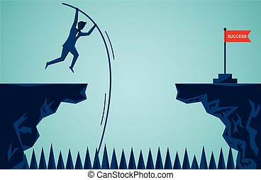 Businessmen are jumping using wood to help from cliff go to the opposite the red flag target goal to overcome obstacle for the ultimate target. business finance success. illustration cartoon vector