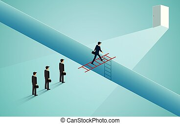 Businessmen are walking across the front staircase red go to the door. Cross the cliff obstacles to the opposite success goal. Business competition. leadership. illustration cartoon vector
