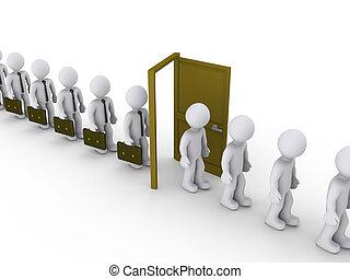 Businessmen are walking through door of unemployment - 3d...