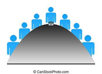 Illustration of businessmen around semi-circular table, isolated on white background.