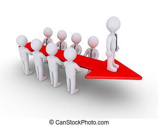 Businessmen arrow and leader