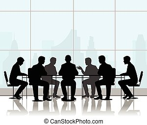 Vector illustration of a businessmen at negotiating table