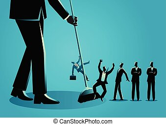 Businessmen being swept by a broom