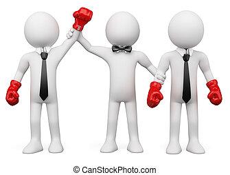 Businessmen boxing - Boxing Referee choosing the winner...