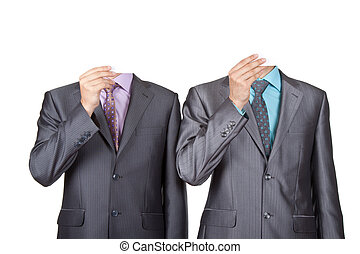 Businessmen covering heads with a cardboard, blank paper
