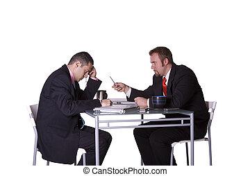 businessmen, cégtábla, egy, összehúz