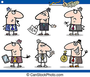 businessmen cartoon characters set