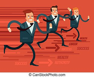 Businessmen characters run race. Vector flat cartoon...