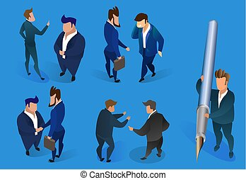 Businessmen Characters Set on Blue Background.