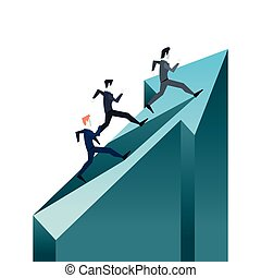 businessmen climbing financial arrow