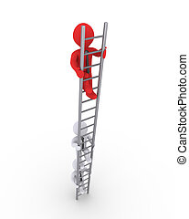 Businessmen climbing ladder competition