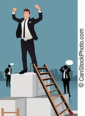 Businessmen Climbing to the Top of Box