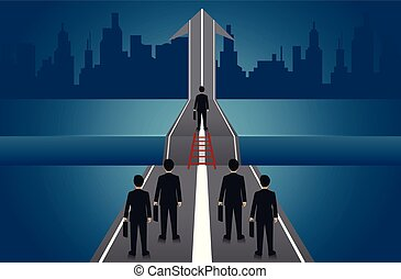 Businessmen compete go on the road there is a gap between the path with arrows to aim for goal success. business concept of challenge problem solving. leadership. creative idea. vector illustration